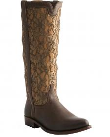 Lucchese Handcrafted 1883 Lace Overlay Riding Boots - Round Toe