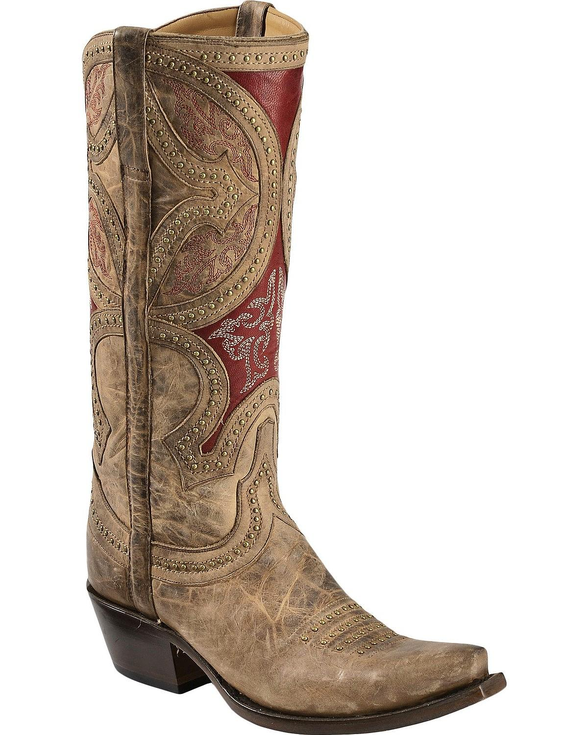 Cool Lucchese Womenu0026#39;s Zita Antique Red Python Ankle Boots - Square Toe | Sheplers