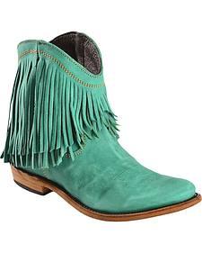 Liberty Black Short Fringe Turquoise Vegas Boots - Round Toe