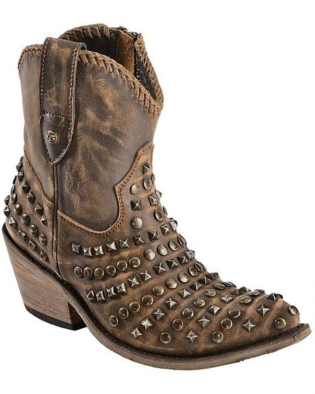 Liberty Black Vintage Canela Studded Boots - Pointed Toe