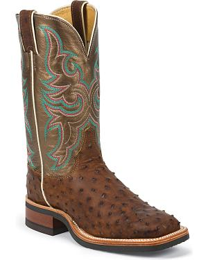 Justin AQHA Full Quill Ostrich Cowgirl Boots - Square Toe