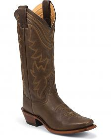 Justin Waxy Cow Cowgirl Boots - Square Toe
