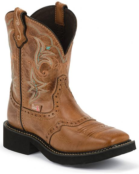 Justin Gypsy Saddle Vamp Cowgirl Boots - Square Toe