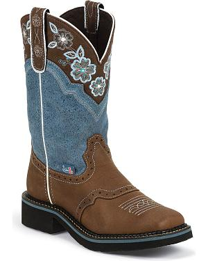 Justin Gypsy Floral Embroidered Cowgirl Boots - Square Toe