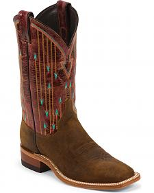 Justin Bent Rail Arrow Stitched Cowgirl Boots - Square Toe