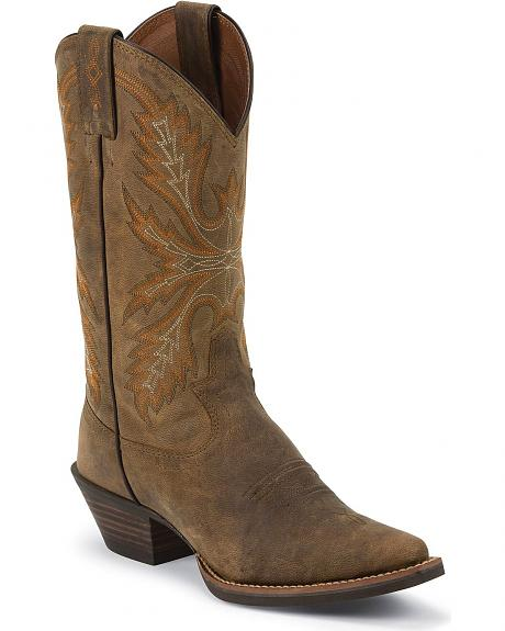 Justin Silver Distressed Cowgirl Boots - Snip Toe