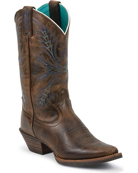 Justin Silver Turquoise Stitched Cowgirl Boots - Snip Toe