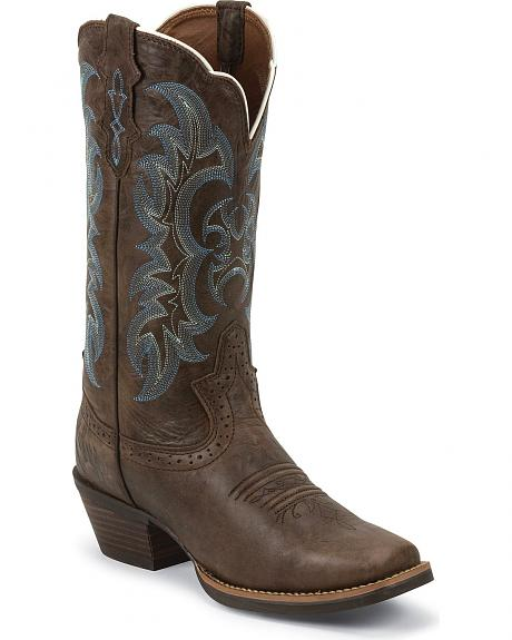 Justin Silver Punchy Cowgirl Boots - Square Toe