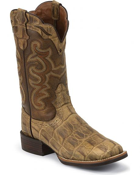 Justin Silver Croc Print Cattleman Cowgirl Boots - Square Toe
