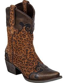 Lane Boots Dakota Short Cheetah Print Wingtip Cowgirl Boots - Snip Toe