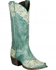 Lane Jeni Lace Embroidered Cowgirl Boots - Snip Toe
