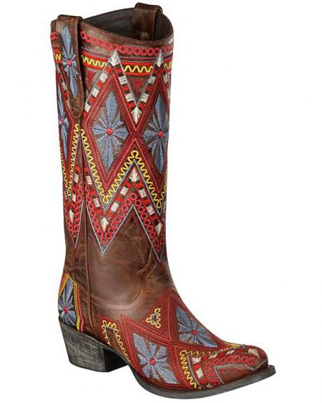 Lane Sunshine Aztec Embroidered Cowgirl Boots - Round Toe