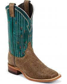 Justin Bent Rail Teal Arrow Stitched Cowgirl Boots - Square Toe