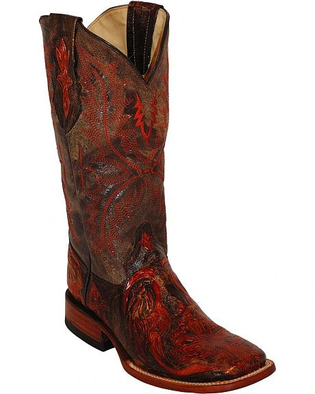 Ferrini Embossed Cross Cowgirl Boots - Wide Square Toe