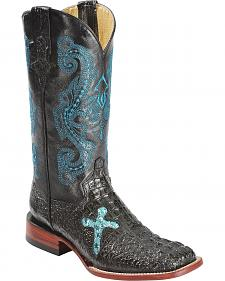 Ferrini Sparkly Cross Inlay Caiman Print Cowgirl Boots - Wide Square Toe