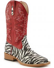 Roper Glittery Zebra Print Cowgirl Boots - Square Toe