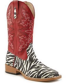 Roper Glittery Zebra Print Cowgirl Boots - Square Toe