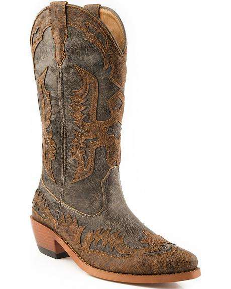 Roper Wingtip Overlay Cowgirl Boots - Snip Toe