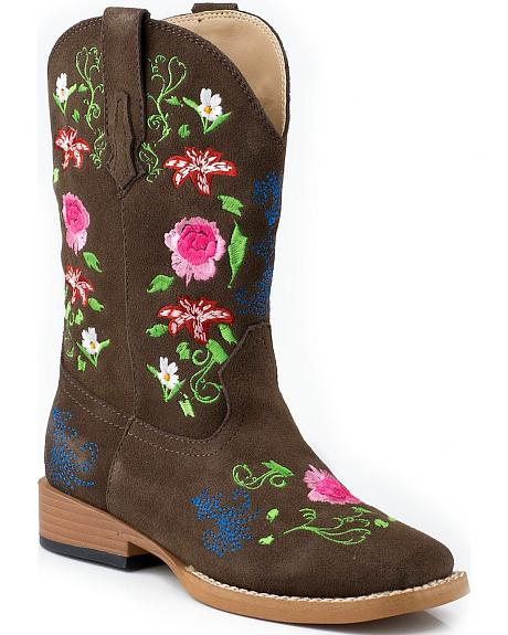 Roper Floral Embroidered Cowgirl Boots - Square Toe