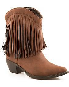 Roper Short Fringe Cowgirl Boots - Snip Toe