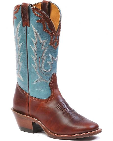 Boulet Fancy Collar Overlay Ranch Hand Cowgirl Boots - Square Toe