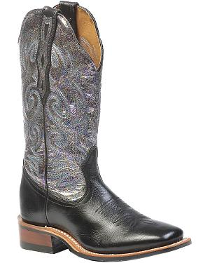 Boulet Fancy Stitched Metallic Cowgirl Boots - Square Toe