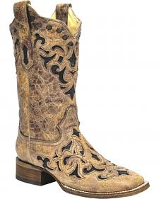Corral Stingray Inlay Cowgirl Boots - Square Toe