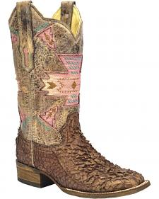 Corral Gnarly Fish Skin Cowgirl Boots - Square Toe