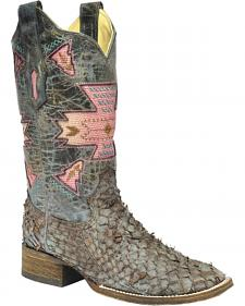 Corral Brown Gnarly Fish Skin Cowgirl Boots - Square Toe