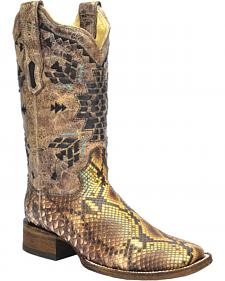 Corral Python Inlay Cowgirl Boots - Square Toe