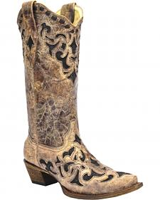 Corral Stingray Inlay Cowgirl Boots - Snip Toe