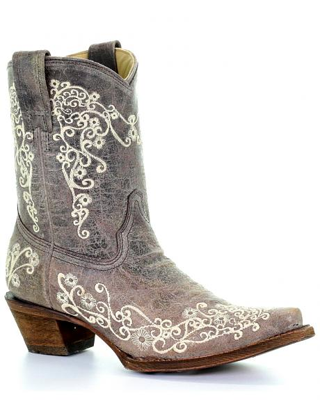 Corral Crater Embroidery Short Boots - Snip Toe