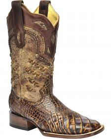 Corral Exotic Alligator Woven Cowgirl Boots - Square Toe