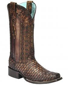 Corral Women's Exotic Lizard Woven Cowgirl Boots - Square Toe