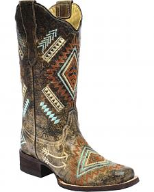 Corral Multicolored Diamond Embroidered Cowgirl Boots - Square Toe