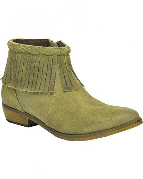 Corral Suede Braided Fringe Short Boots - Round Toe