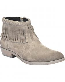 Corral Grey Suede Braided Fringe Short Boots - Round Toe