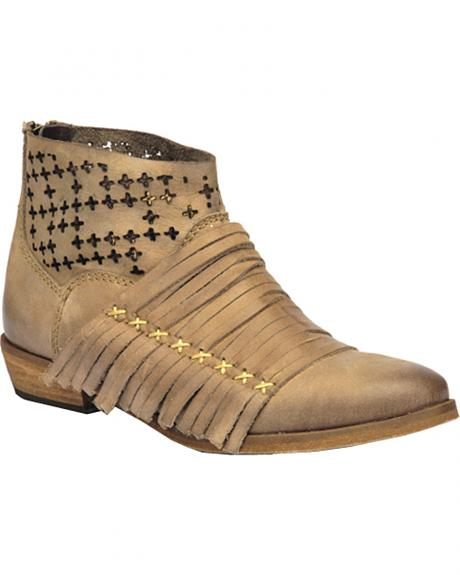 Corral Burnished Strappy Lasercut Short Boots
