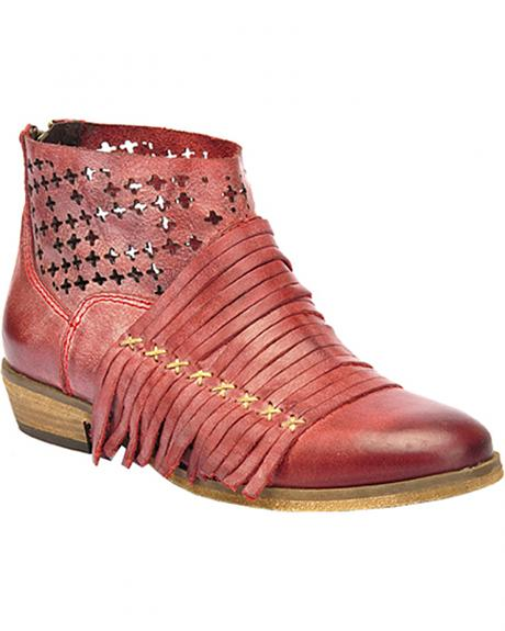 Corral Burnished Strappy Lasercut Short Boots - Round Toe