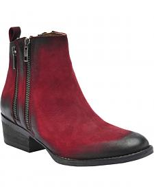 Circle G Black Cherry Burnished Double Zipper Short Boots - Round Toe