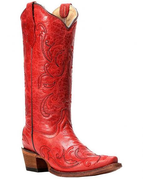 Circle G Red Leather Cowgirl Boots - Snip Toe