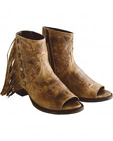 Lane Women's Tan Seally Fringe Boots - Open Toe