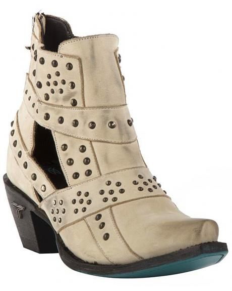 Lane Women's Cream Stud and Straps Fashion Boots - Snip Toe