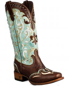Lane Turquoise Lasso Cowgirl Boots - Snip Toe
