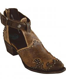 Lane for Double D Ranch Women's Brown South of the Sabine Booties - Snip Toe