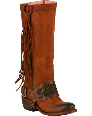 Junk Gypsy by Lane Chili Brown Southbound Fringe Boots - Round Toe