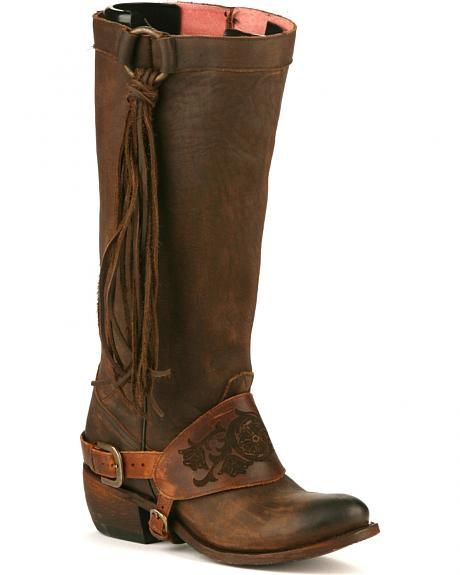 Junk Gypsy by Lane Chocolate Southbound Fringe Boots - Round Toe