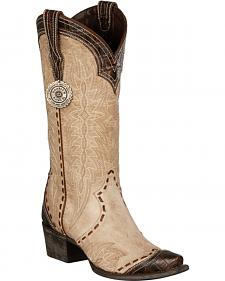 Lane for Double D Ranch Bone Ramirez Croc Print Cowgirl Boots - Snip Toe