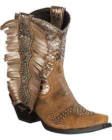 Lane Women's Olivia Tan Fringe Boots - Snip Toe