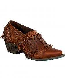 Lane Women's Brown Fringe Fries Shoes - Snip Toe